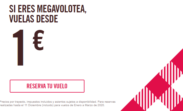 ¡VOLOTEA está de oferta con </br> con VUELOS a 1€!